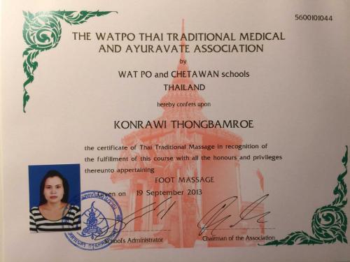 Zertifikat Fußmassage - Wat Po