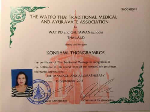 Zertifikat Ölmassage und Aromatherapie